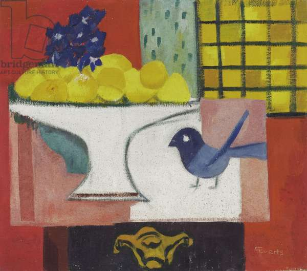 Still Life with Blue Bird, c.1945-50 (oil on hardboard)