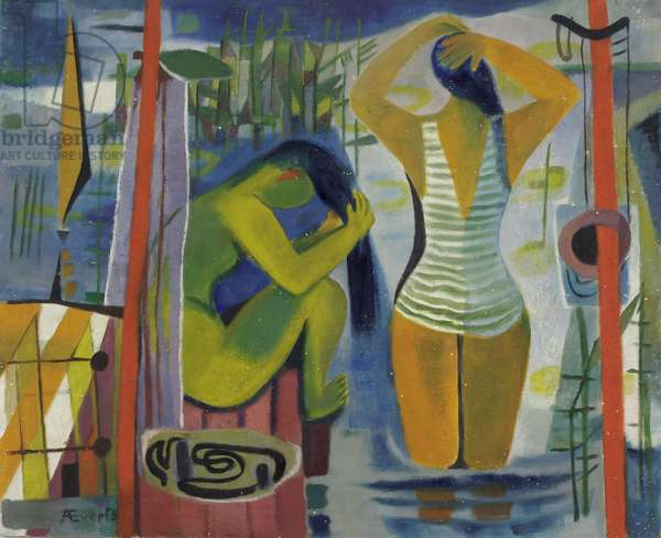 Women by a Lake, c.1945-50 (oil on hardboard)