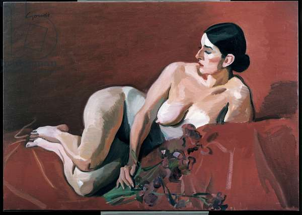 Reclining Nude, c.1985 (oil & chalk on canvas)