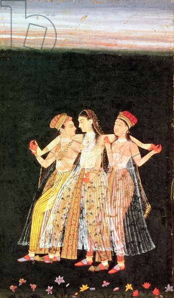 A Prince with Two Concubines (gouache on paper)
