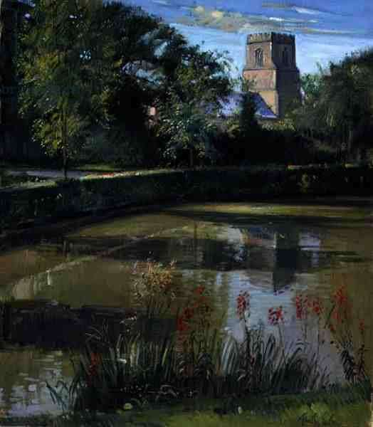 Across the Moat, Bedfield (oil on canvas)