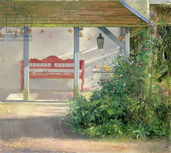 Sweet Peas and Autumn Harvest (oil on canvas)