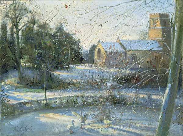 The Frozen Moat, Bedfield (oil on canvas)