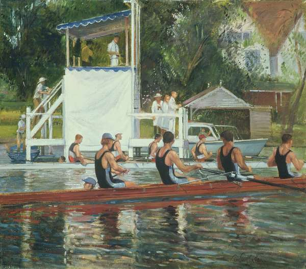 Before the Press Stand, Henley (oil on canvas)