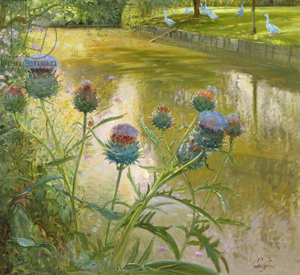 Cardoons Against the Moat (oil on canvas)