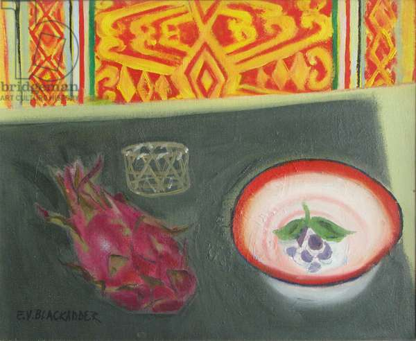 Dragon Fruit and Chinese Enamel Bowl (oil on canvas)
