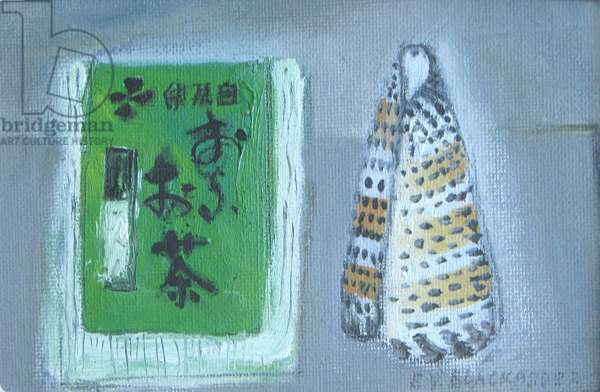 Green Tea and Shell (oil on canvas board)