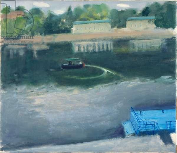 River Boat, Prague (oil on canvas)