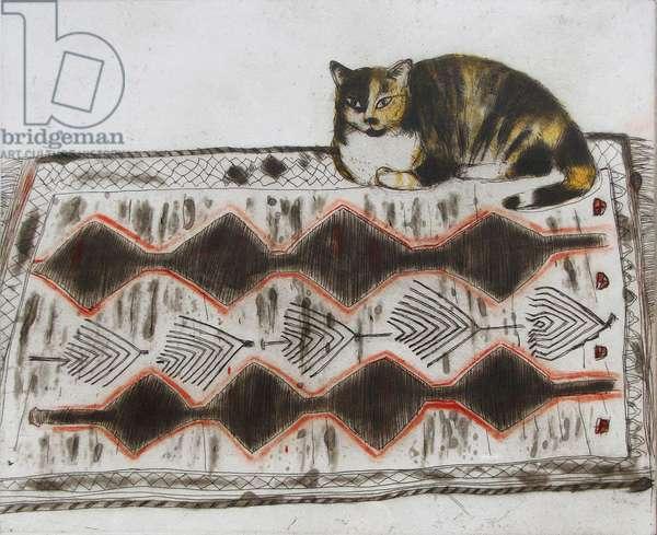 Kikko on a Rug (coloured etching)