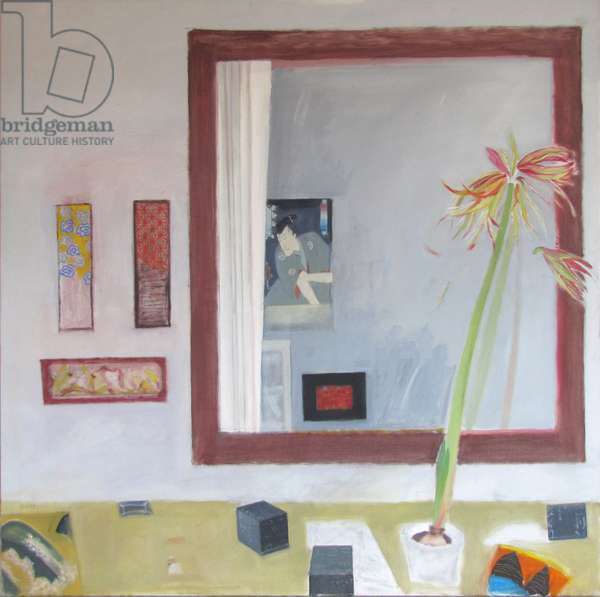 Still Life with Japanese Print and Mirror (oil on canvas)