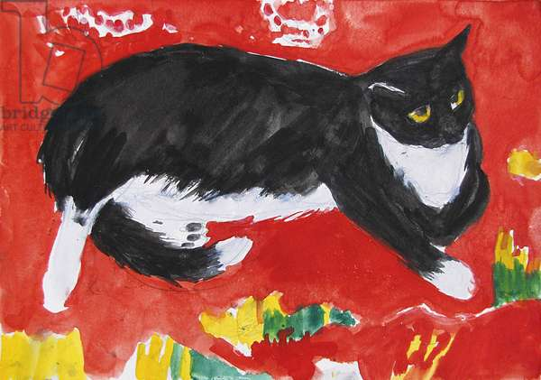 Cat on a Silk Cushion (w/c on paper)