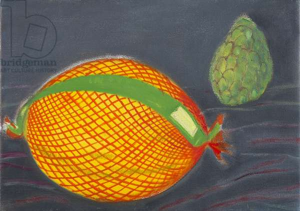 Melon and Custard Apple (oil on canvas)
