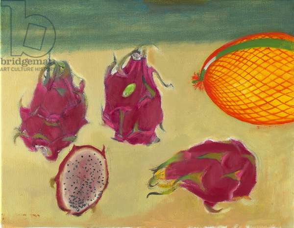 Dragon Fruit and Melon (oil on canvas)