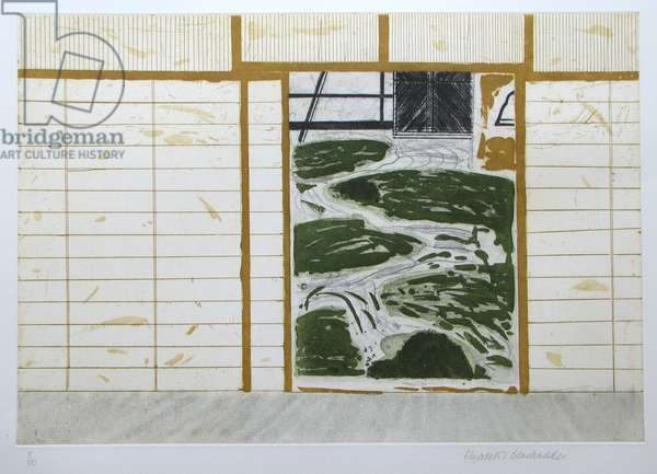 Japanese Garden (coloured etching)