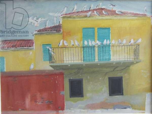 Seagulls, Fishmarket, Venice, 2004 (w/c on paper)