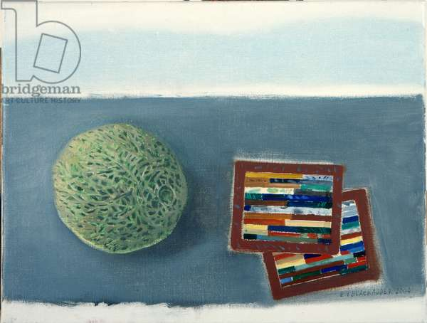 Melon and Marble Tiles (oil on canvas)