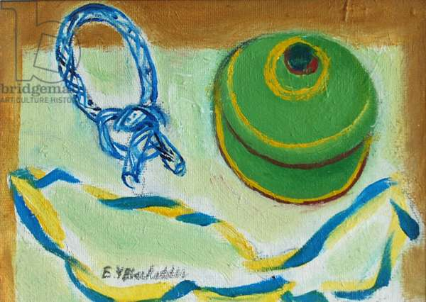 Still Life with Ribbon and Box (oil on canvas)