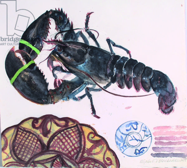 Lobsters, Seville Plate and Japanese Bowl (w/c on paper)