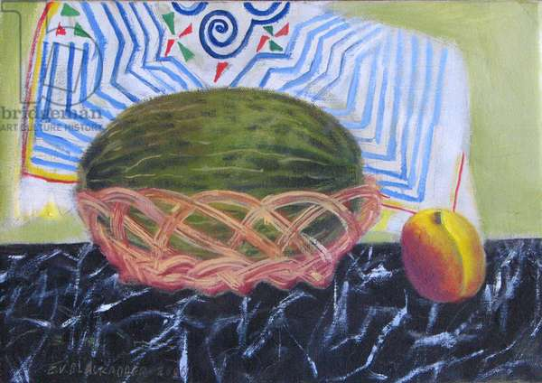 Melon in a Basket - Marble and Peach (oil on canvas)