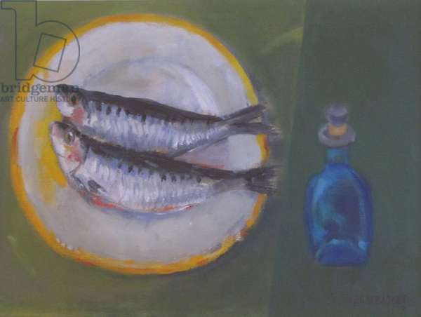 Two Sardines on a Plate (oil on canvas)