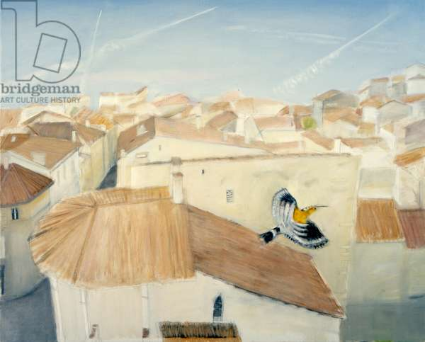 Hoopoe Over St. Emilion (oil on canvas)