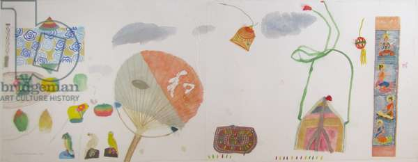 Still Life with Fan and Bird Ornaments, 1986 (w/c on paper)