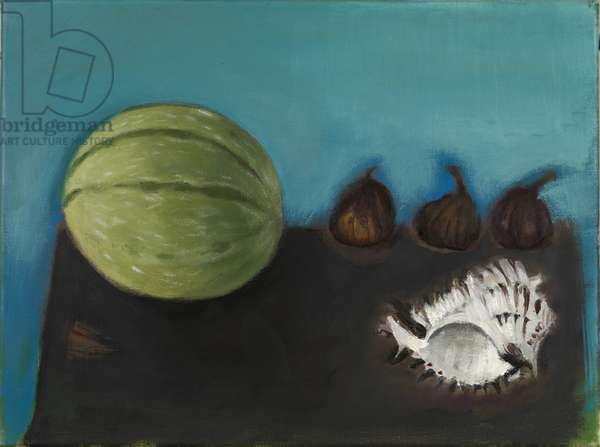 Melon, Figs and Shell (oil on canvas)