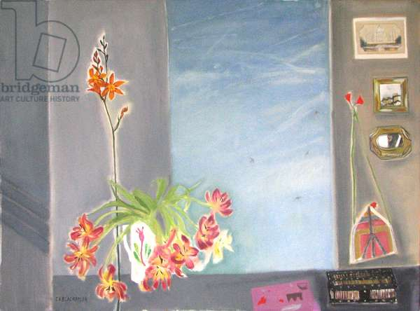 Tulips and Other Flowers - Spring Window (oil on canvas)