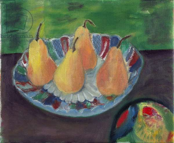 Pears on a Japanese Plate (oil on canvas)