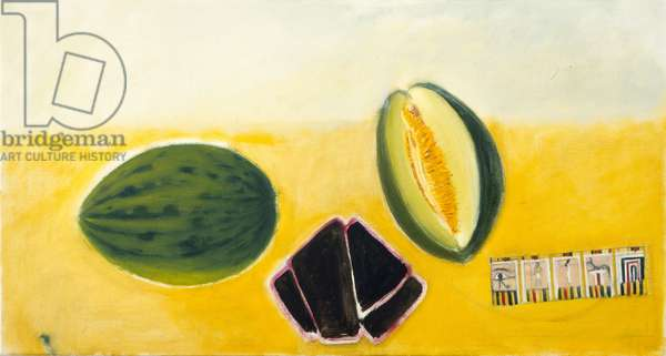 Melon, Lacquer Dish and Egyptian Card (oil on canvas)