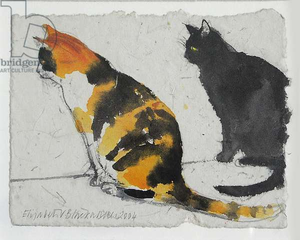Two Cats, 2004 (w/c on paper)