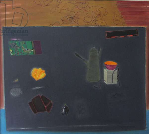 Dark Table with Coffee Pot (oil on canvas)