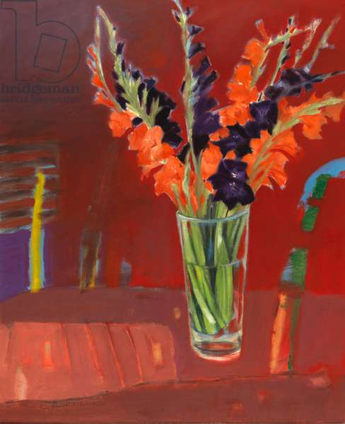 Gladioli (oil on canvas)