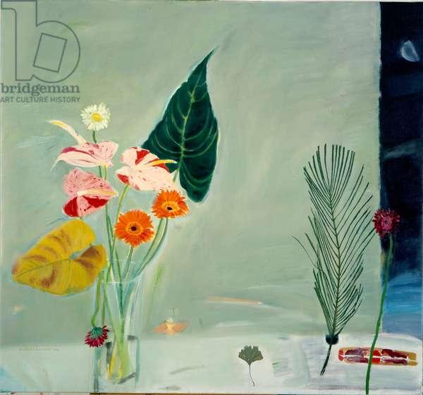 Still Life with Gerberas - Moonlight (oil on canvas)