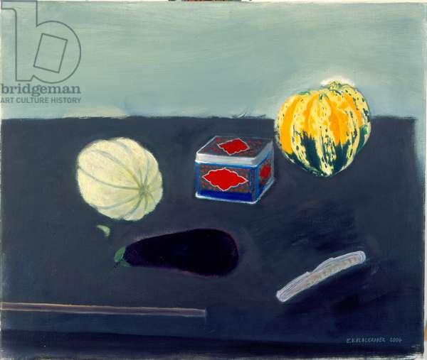 Melon, Squash and Russian Tea Tin (oil on canvas)