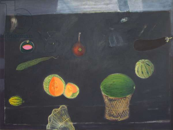 Dark Table with Fruit (oil on canvas)