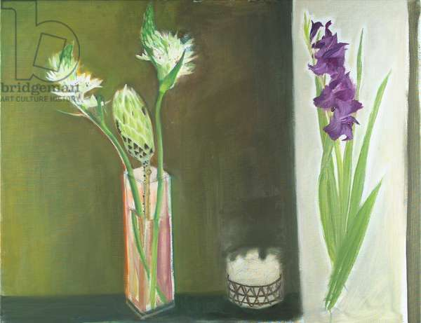 Gladiolus and Proteus (oil on canvas)