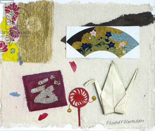 Japanese Still Life with Origami Swan, 2008 (w/c & collage on paper)