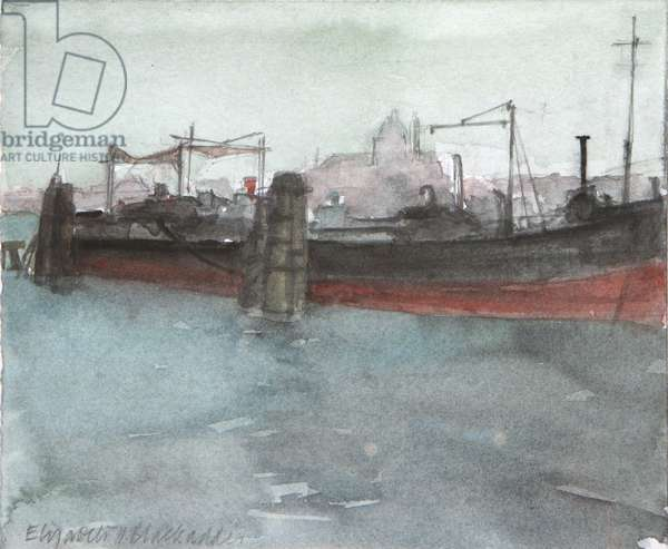 Boats on Giudecca Canal, 2008 (w/c on paper)
