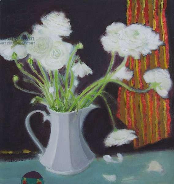 White Ranunculus, 2004 (oil on canvas)