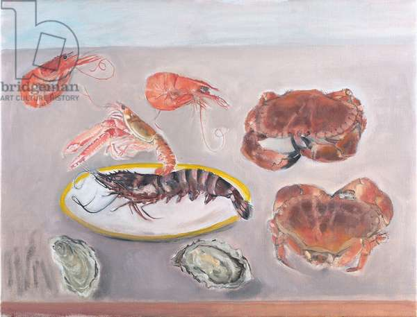 Prawns, Gamberi, Crabs and Oysters (oil on canvas)