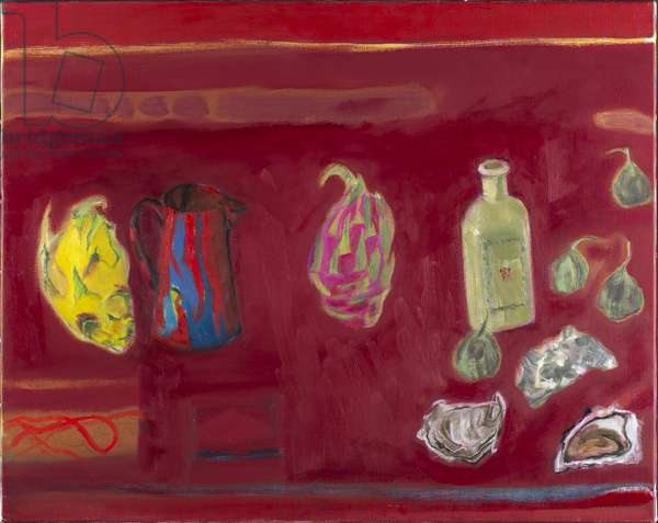 Red Still Life - Dragon Fruit and Oysters (oil on canvas)