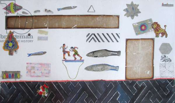 Still Life with Indian Puppets, Fish and Shapes (w/c & gold leaf on paper)