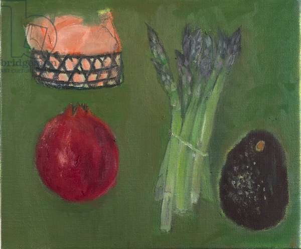 Asparagus, Avocado and Pomegranate (oil on canvas)