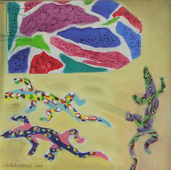 Papier Mache Lizards and Cloth, 2004 (oil on canvas)