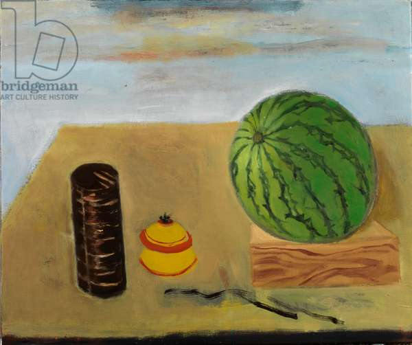 Japanese Boxes and Watermelon (oil on canvas)