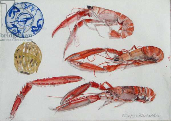 Langoustines - Blue and White Bowl (w/c on paper)