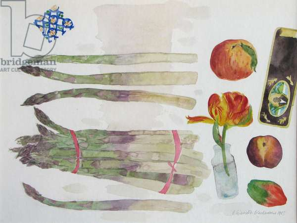 Asparagus,  Peaches and Tulip, 1983 (w/c on paper)