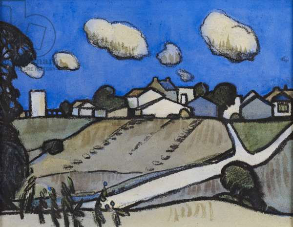 The Village, St. Palais, near Royan (charcoal & w/c on paper)