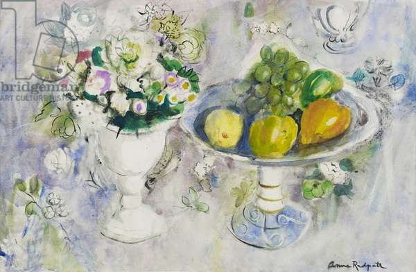 Still Life Study of Flowers and Fruit (w/c on paper)
